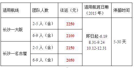 日本特价机票:长沙至名古屋